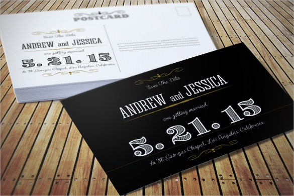 black colour fully editable wedding invitation postcard