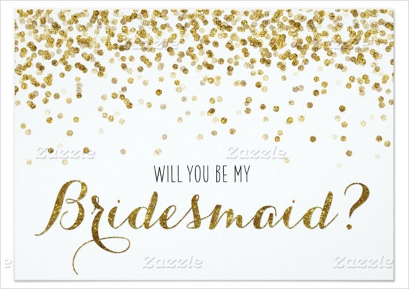 gold glitter confetti will you be my bridesmaid paper invitation card