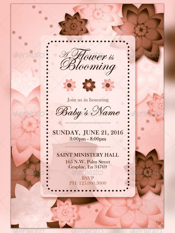 pink brown baby shower invitation