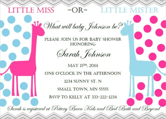 giraffe baby shower invitation for children