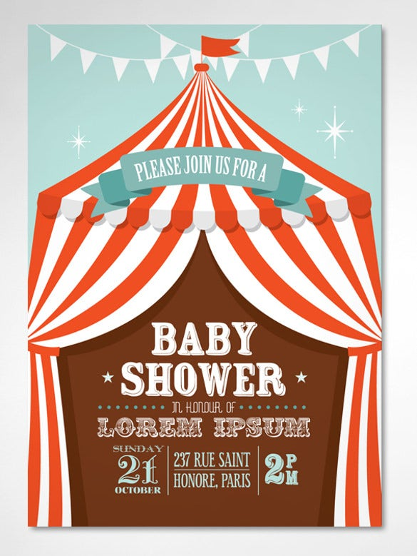 red circus tent baby shower template