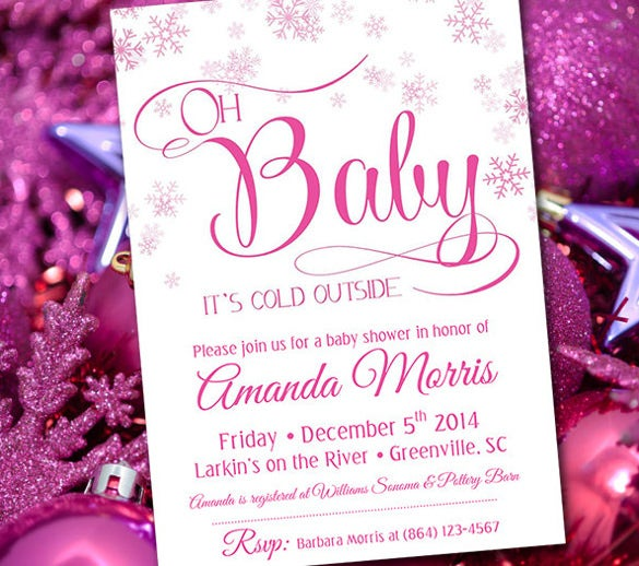 Baby shower invitation templates 32 psd vector eps ai format winter wonderland baby girl shower invitation card stopboris Image collections