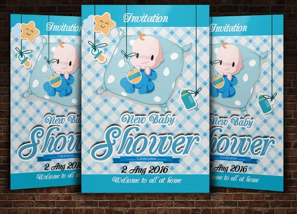 blue blue baby shower invitation template