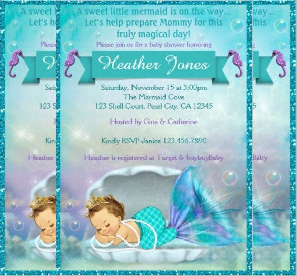 adorable mermaid baby shower invitations