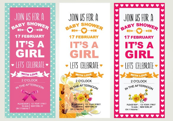 girl 3 baby shower invitations