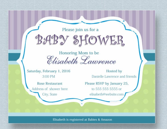 Baby Shower Invitation Template Boy Girl Card