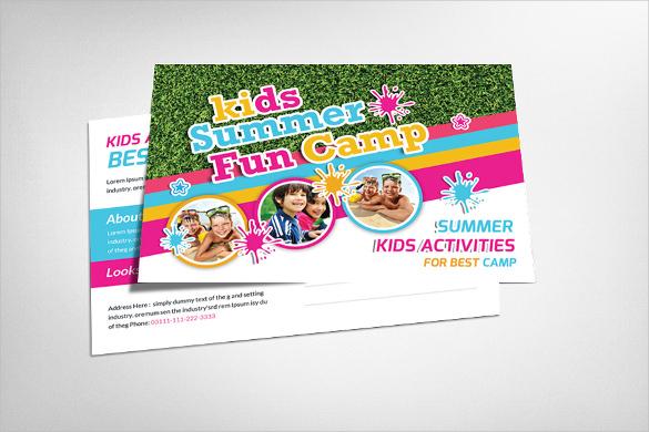 kids summer camp advertising postcard template
