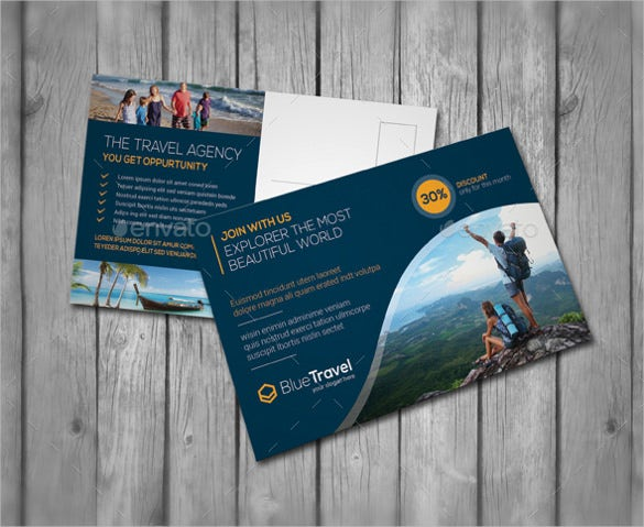 simple and elegant travel advertising postcard template