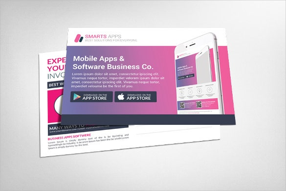 corporate business postcard template for mobile apps