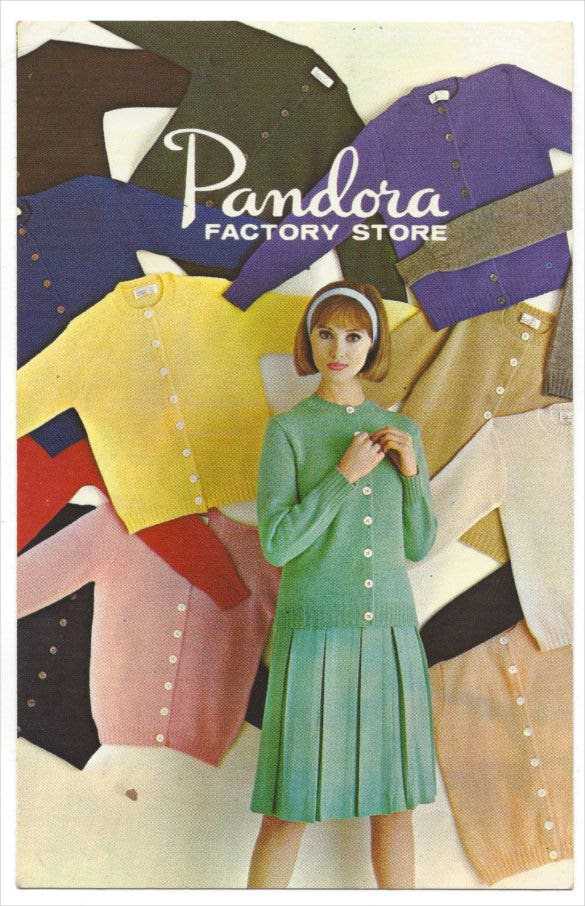 1960s advertising postcard pandora knitwear