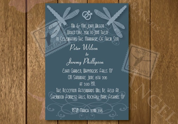 elegant gay wedding invitation template