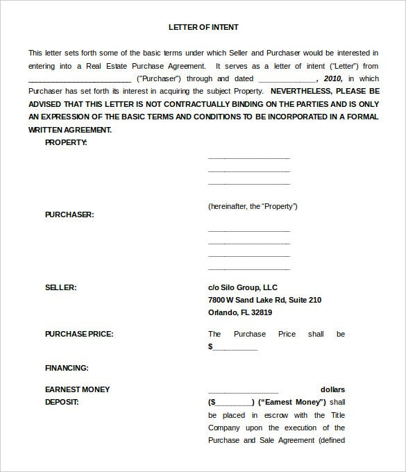 Free Letter Of Intent Templates  Free Sample Example Format