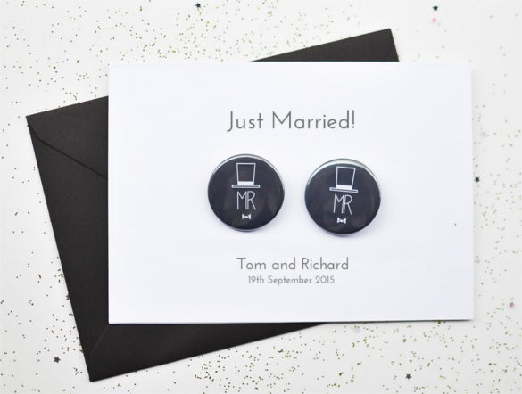 gay wedding invitation with badges