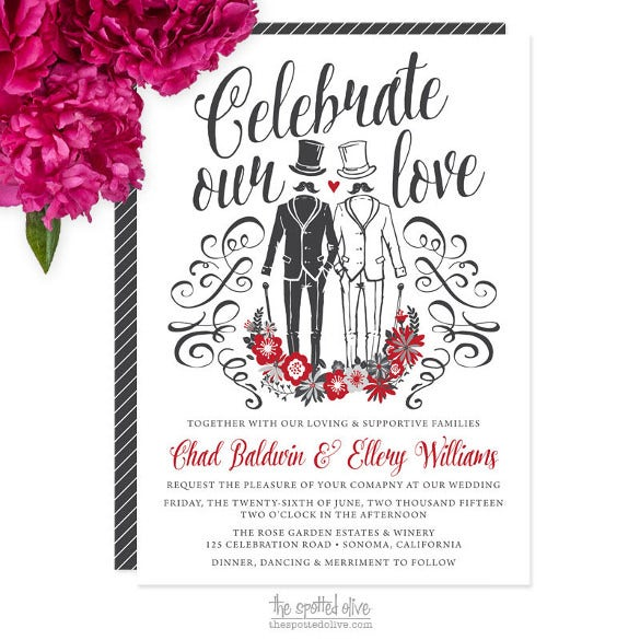 same sex gay wedding invitation template