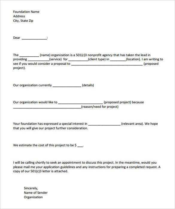 letter of intent template for grant funding request free download
