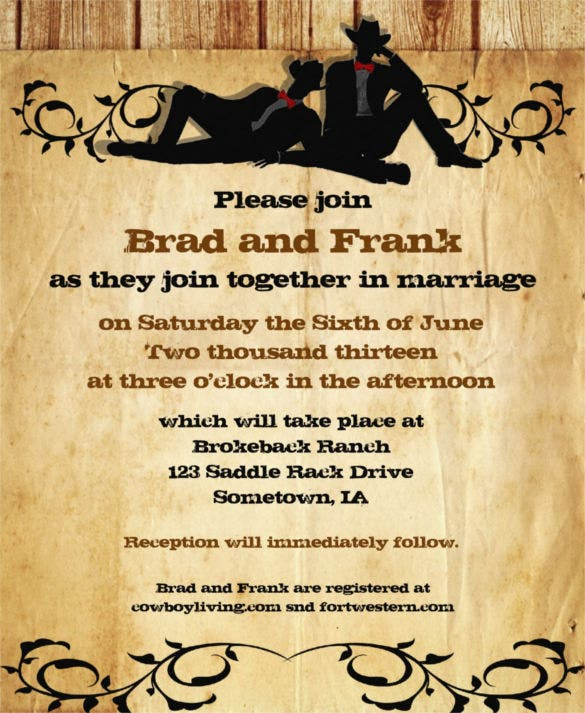 17 Gay Wedding Invitation Templates Free Sample Example Format – Cowboy Party Invitation Wording