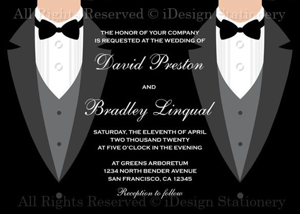 printable black and white themed gay wedding invitation