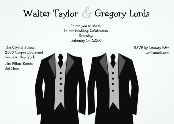 mr and mr gay wedding invitation