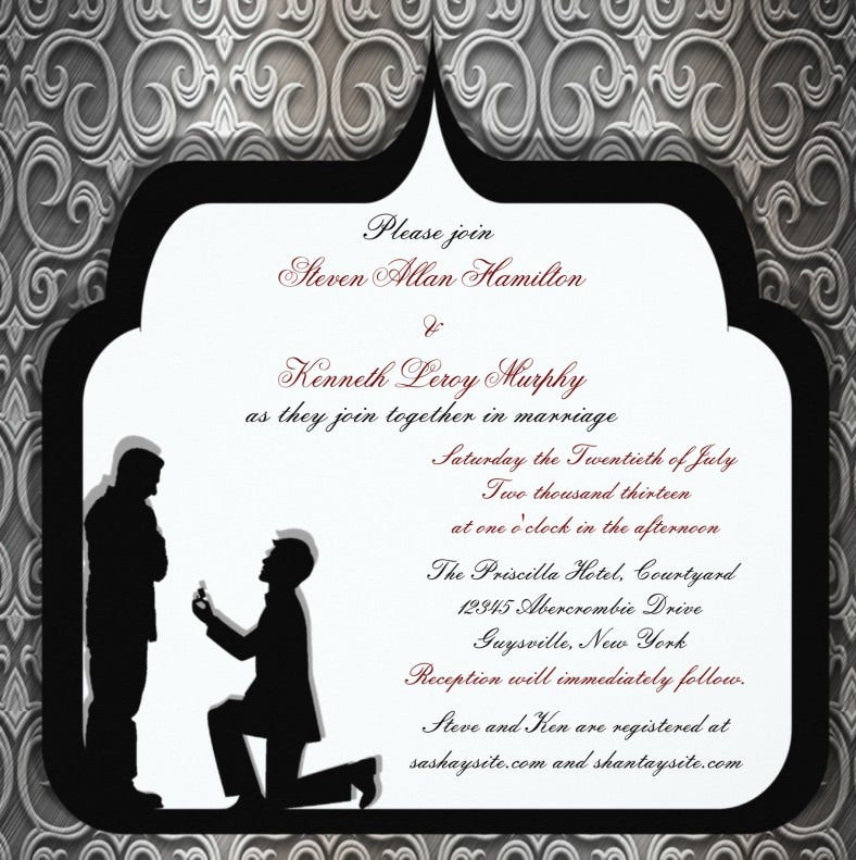 grooms proposal gay wedding invitation 788x791