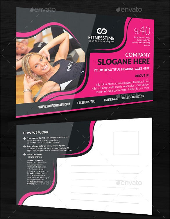 postcard template for fitness