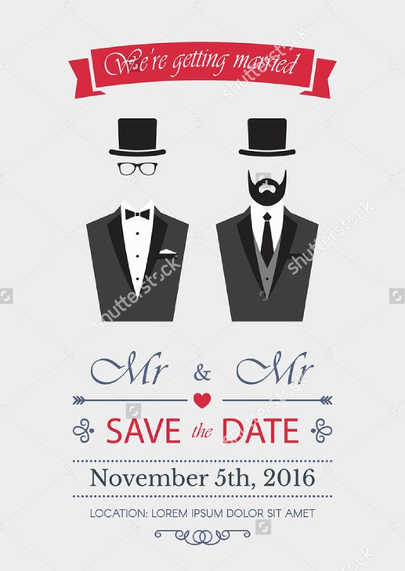 elegance illustration with gay couple wedding invitation