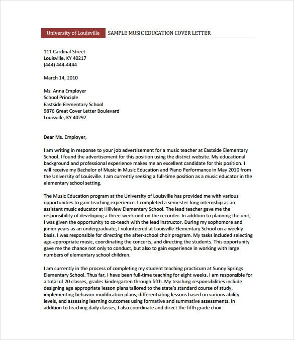 Teacher Cover Letter Templates Free Sample Example Format