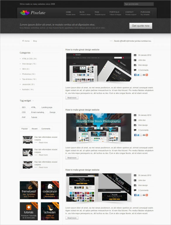dark corporate website template