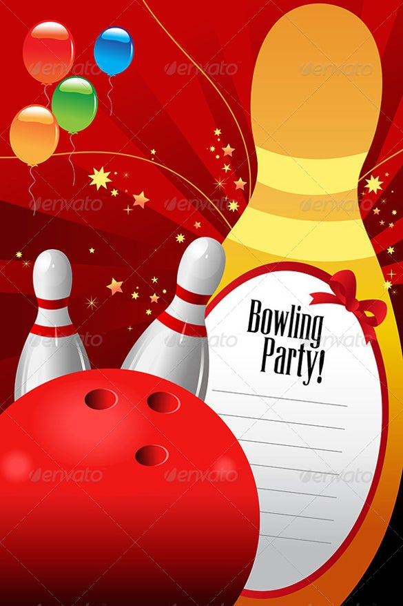 red bowling party invitation template