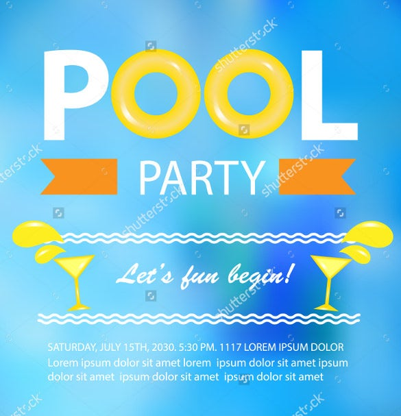pool or beach party invitation card vector