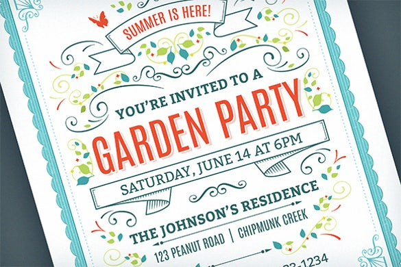 summer garden party invitation template