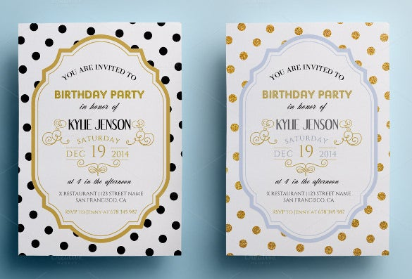 blue elegant birthday party invitation