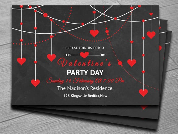 black valentines day party invitation