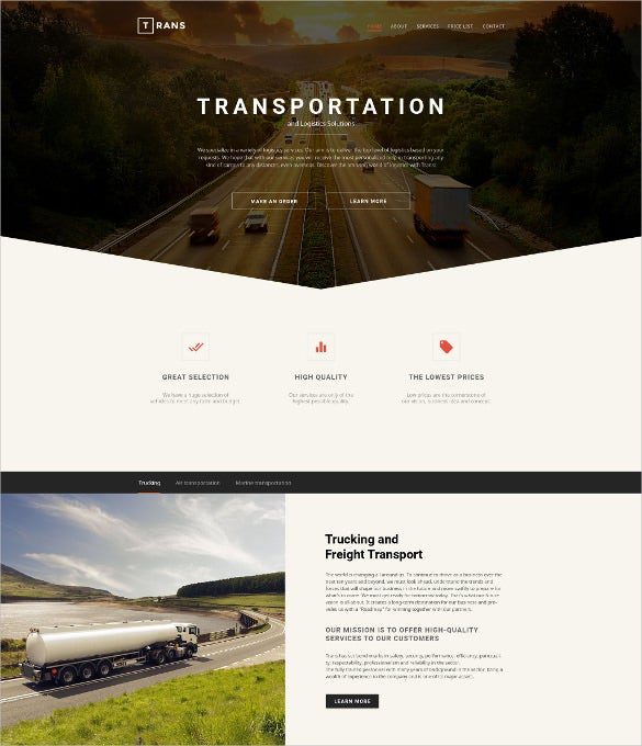 corporate transportation website template