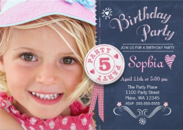 birthday party invitation girl chalkboard photo invitation