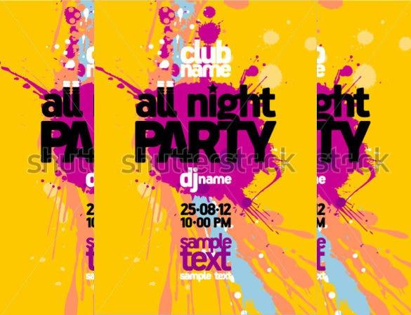 yellow all night party design template with place