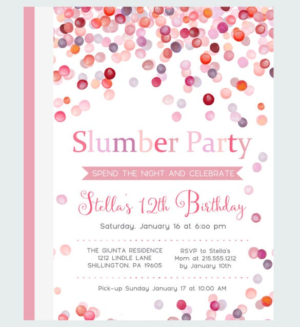 Water Slumber Party Invitations Girls Sleepover Birthday