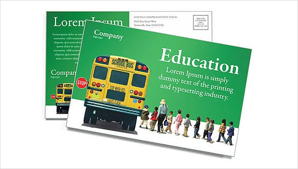 green school bus postcard template