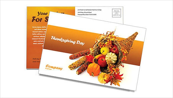 postcard template for thanksgiving