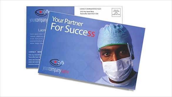 blue colour doctor postcard template