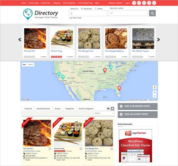 clean responsive directory listing wordpress template