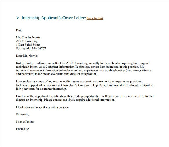 Cover Letter Examples For Resume For Internship