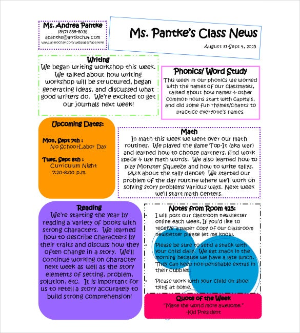 9 Classroom Newsletter Templates Free Sample Example Format – Example of Newsletter Templates