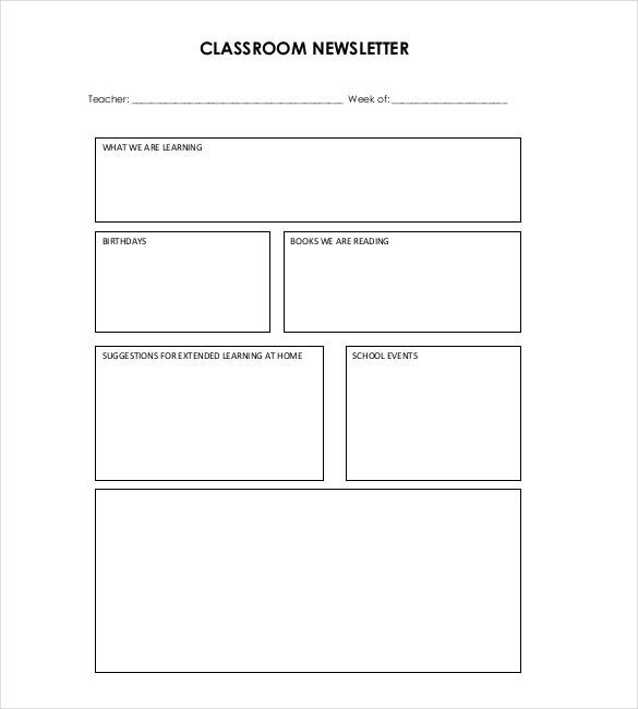 Classroom Newsletter Template For Teachers