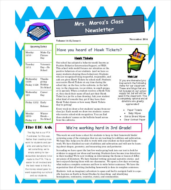 Classroom Newsletter Templates  Free Sample Example Format