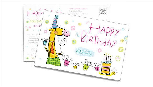 free birthday postcard template sample download