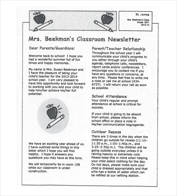 8 classroom newsletter templates free sample example format