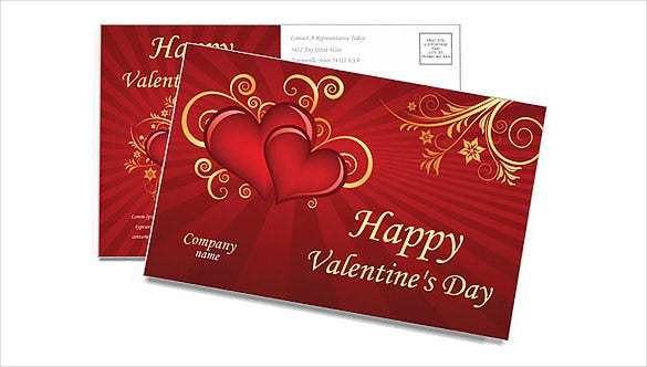 valentines day freepostcard template