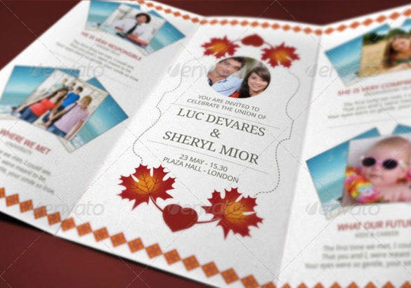 Trifold Wedding Invitation Templates  Free Sample Example