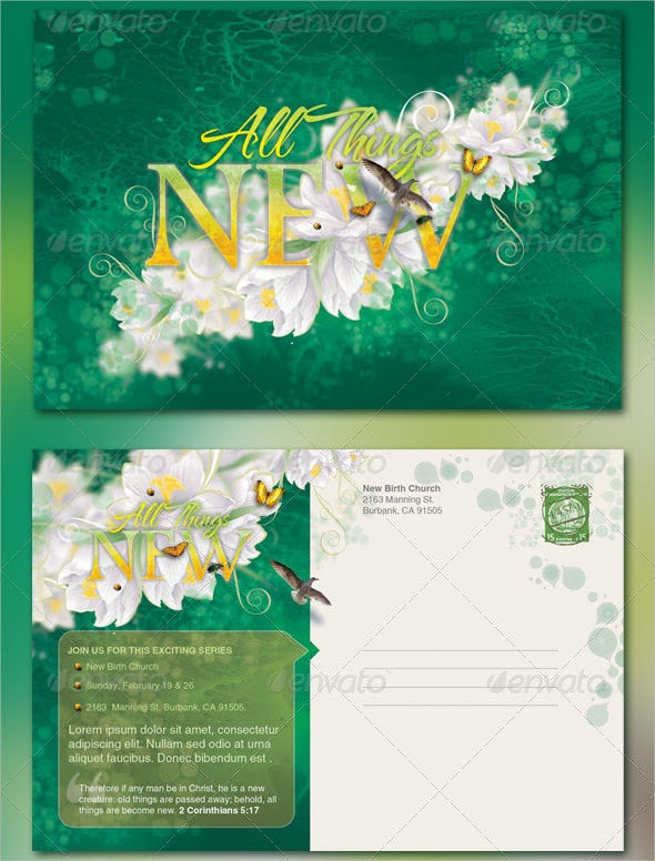 creative all things new church postcard