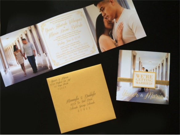 golden shimmer tri fold wedding invitation